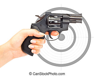 Hand with gun and target
