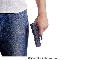 Hand with gun - Hand white man with a gun. Crime.