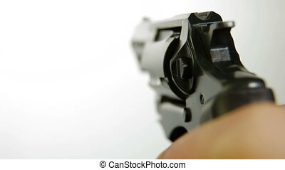 Hand With Gun On White Background, Closeup