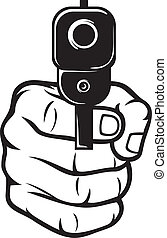 hand with gun (pistol), gun pointed