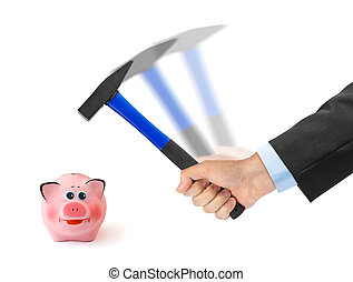 Hand with hammer and piggy bank