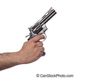 Hand with handgun isolated on white
