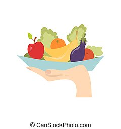 Hand with healthy food.