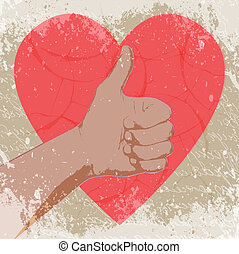 Hand with heart, abstract vector illustration