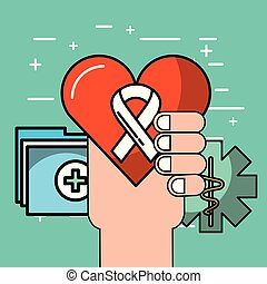 mental health care - hand with heart beat documents mental...