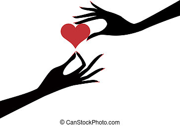 hand with heart - female hands holding red heart, vector