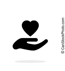 Hand with heart icon on white background.