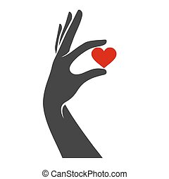 Hand with Heart Icon. Vector
