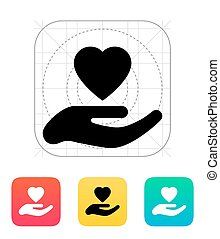 Hand with heart icon.