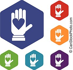 Hand with heart icons set