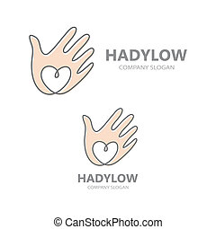 hand with heart logo design.