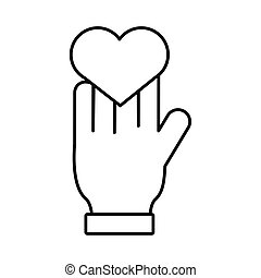 hand with heart love symbol line style icon