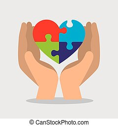 hand with heart puzzle to autism day vector illustration