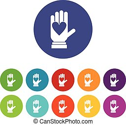 Hand with heart set icons