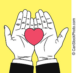 Hand with heart symbol
