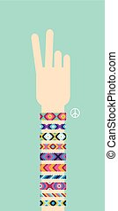 Hand with hippy friendship bracelets. Victory sign - Hand...