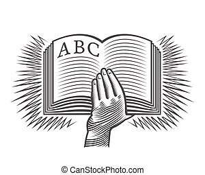 Hand with hornbook - Hand holding alphabet as a symbol of...
