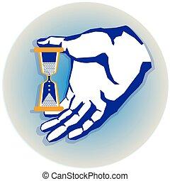 hand with hourglass