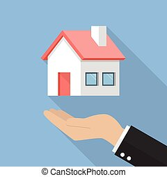 Hand with house flat icon
