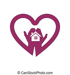 Hand with house in heart icon logo