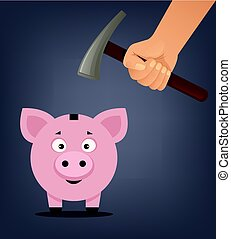Hand with hummer trying smash piggy bank character. Financial crisis problems. Vector flat cartoon illustration
