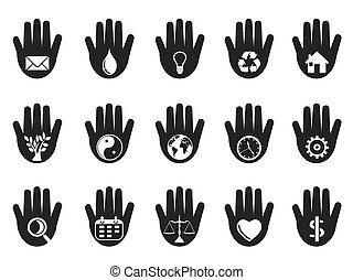 hand with icons set