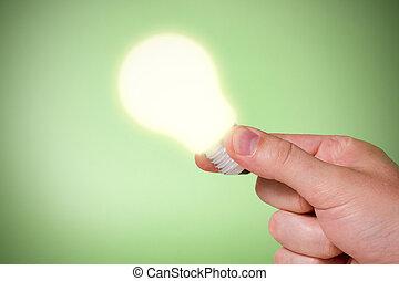 Hand with Ideas lightbulb