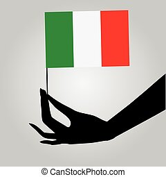 Hand with Italy flag