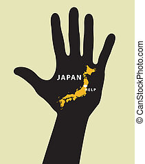 Japan Map With Seismic Epicenter. - Hand with Japan Map With...