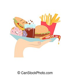 Hand with junk food.