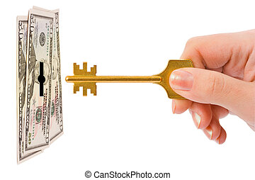 Hand with key and money