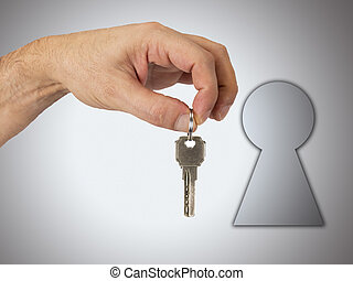 hand with key on background