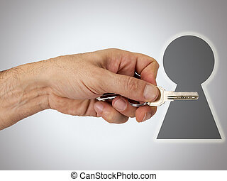 hand with key on white background