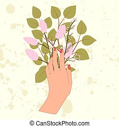 Hand with leaf branch, lilac flower and pink blossom in flat style.