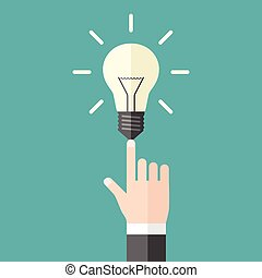 Hand with shining light bulb on blue background. Aha moment, innovation and inspiration concept. Flat design. EPS 8 vector illustration, no transparency