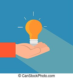 hand with light bulb idea isolated icon