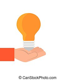 hand with light bulb idea isolated icon