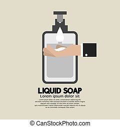 Hand With Liquid Soap Vector Illustration