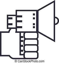 hand with loudspeaker vector line icon, sign, illustration on background, editable strokes