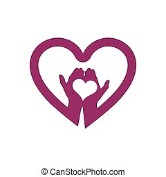 Hand with love in heart icon logo