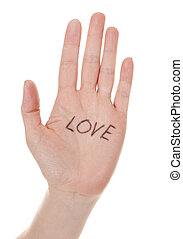 hand with love message