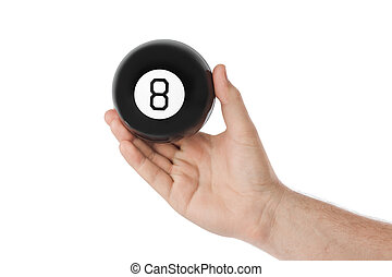 Hand with magic billiard ball number eight