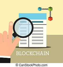 hand with magnifying glass contract blockchain