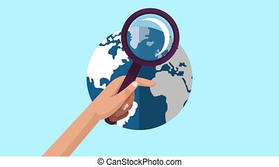 Hand with magnifying glass looking world HD animation