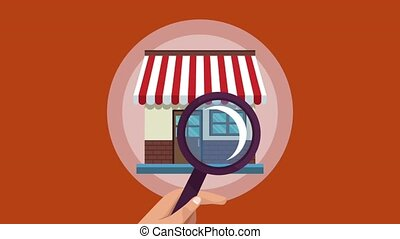 Hand with magnifying glass searching store HD animation