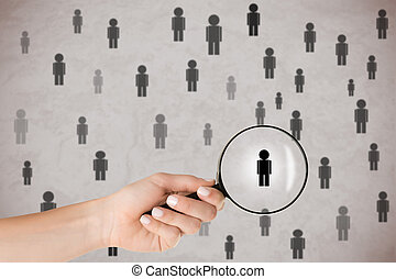 Hand With Magnifying Glass Selecting People - Concept of ...