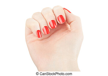Hand with manicure and red nail polish