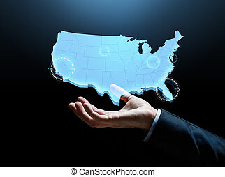 hand with map of united states of america