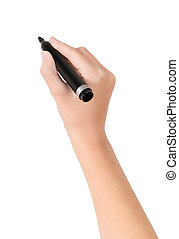 Hand with marker drawing isolated - Female hand is ready for...