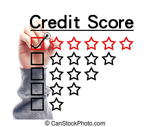 Credit score concept - Hand with marker is drawing Credit...
